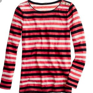 J. Crew Painter Boatneck Striped Button Tee